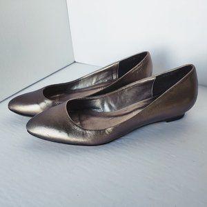 ALDO Genuine Leather Gold Flats